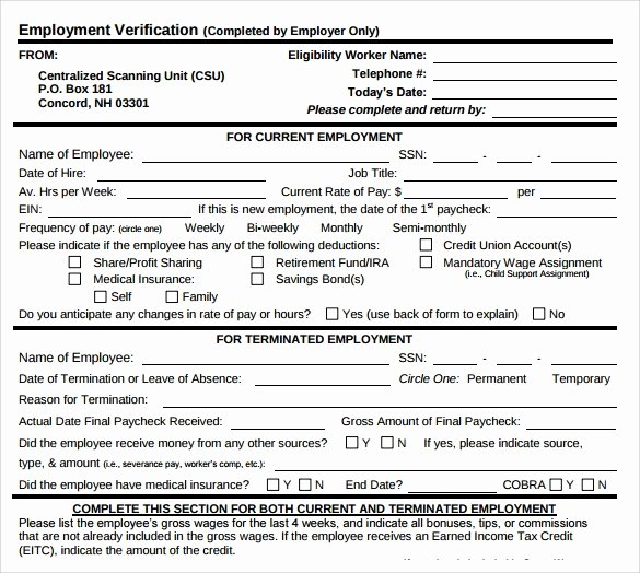 Free Employment Verification form Template Inspirational Employment Verification form 8 Download Documents In Pdf