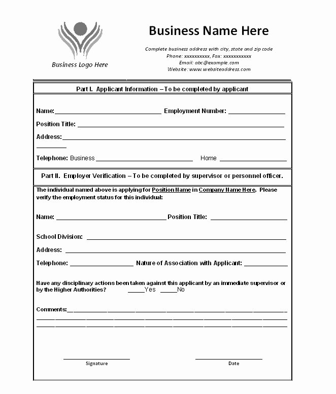 Free Employment Verification form Template Inspirational Free Proof Of Employment Letter Verification forms