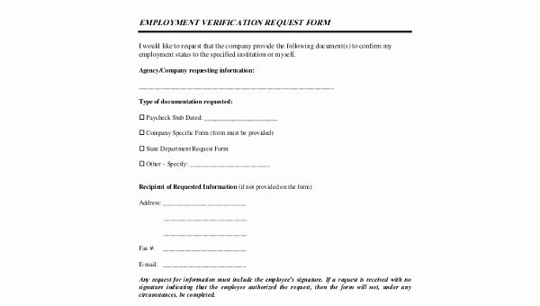 Free Employment Verification form Template Lovely Sample Employment Verification Request forms 8 Free