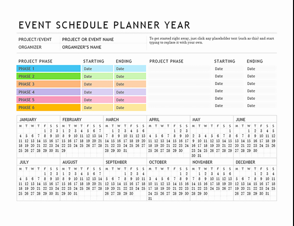Free event Calendar Template Best Of event Planner