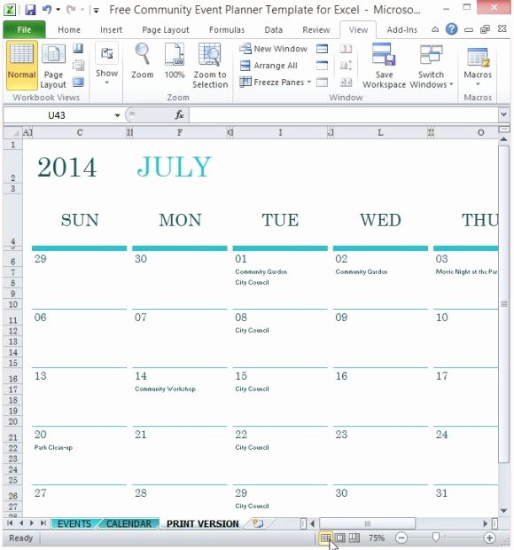 Free event Calendar Template Best Of Free Munity event Planner Template for Excel