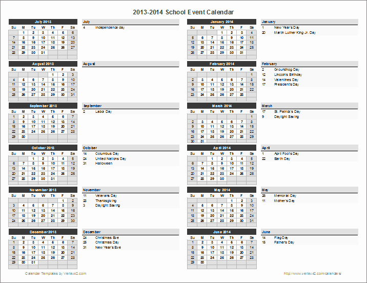 Free event Calendar Template Luxury School Calendar Template 2019 2020 School Year Calendar
