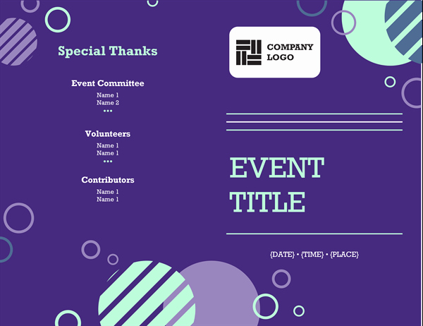Free event Program Template Inspirational event Program Half Fold 4 Pages