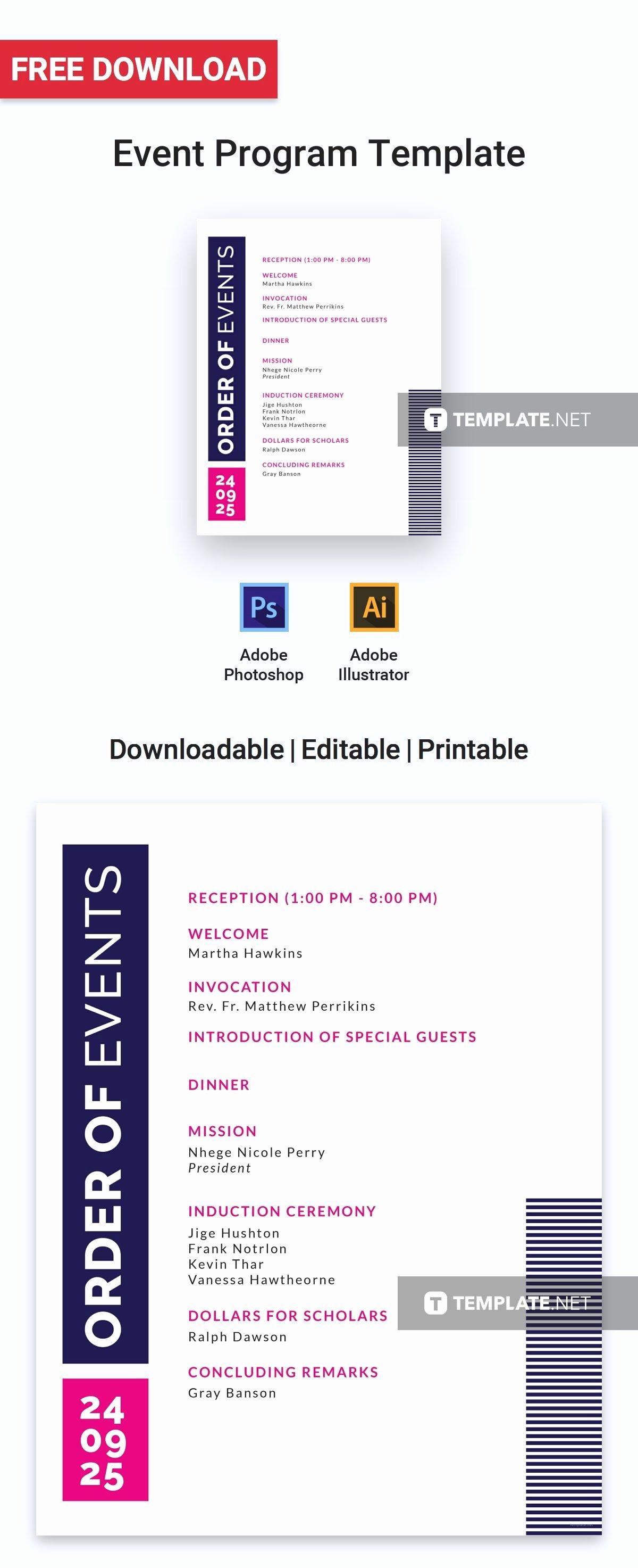 Free event Program Template Inspirational Free event Program Invitation
