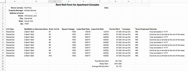 Free Excel Rent Roll Template Awesome Rent Roll Template and forms