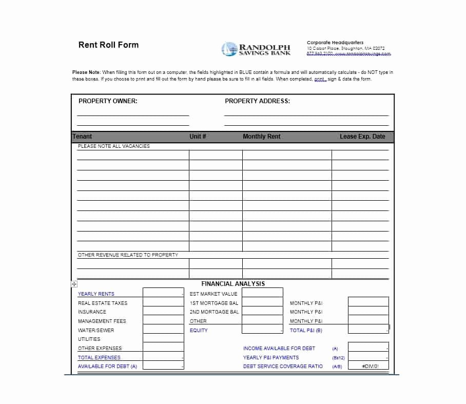 Free Excel Rent Roll Template Beautiful 47 Rent Roll Templates & forms Template Archive