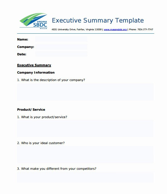 Free Executive Summary Templates Fresh 31 Executive Summary Templates Free Sample Example