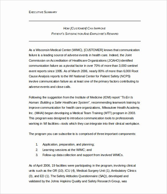 Free Executive Summary Templates Unique 31 Executive Summary Templates Free Sample Example