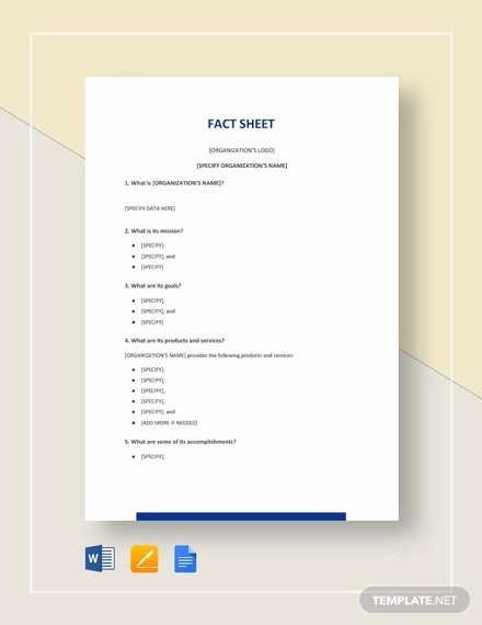 Free Fact Sheet Template Lovely 27 Fact Sheet Templates Pdf Doc Apple Pages Google