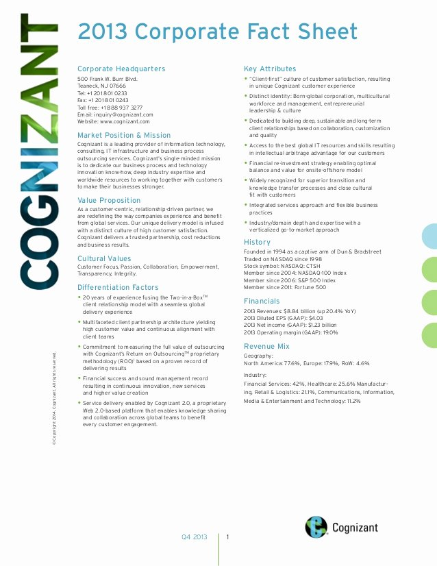 Free Fact Sheet Template Lovely Cognizant 2013 Corporate Fact Sheet