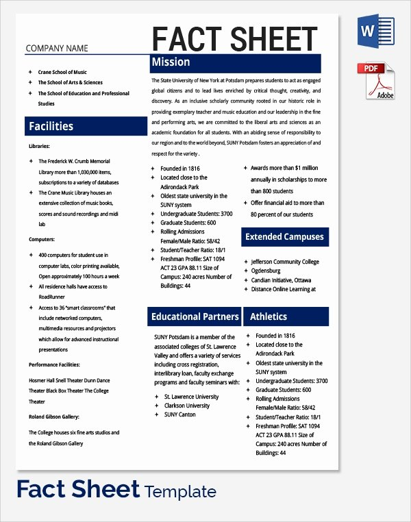 Free Fact Sheet Template Luxury Sample Fact Sheet Template 14 Free Download Documents
