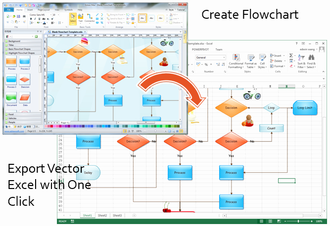 Free Flow Chart Template Excel Beautiful Make Great Looking Flowcharts In Excel