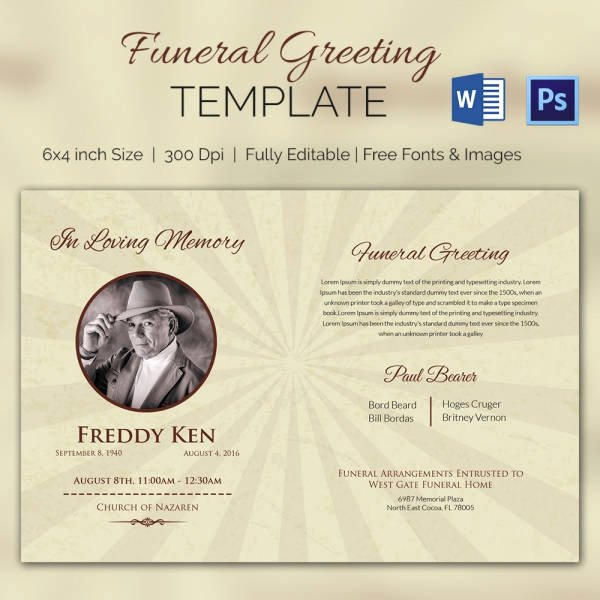 Free Funeral Card Template Awesome Funeral Program Template 10 Free Word Psd format