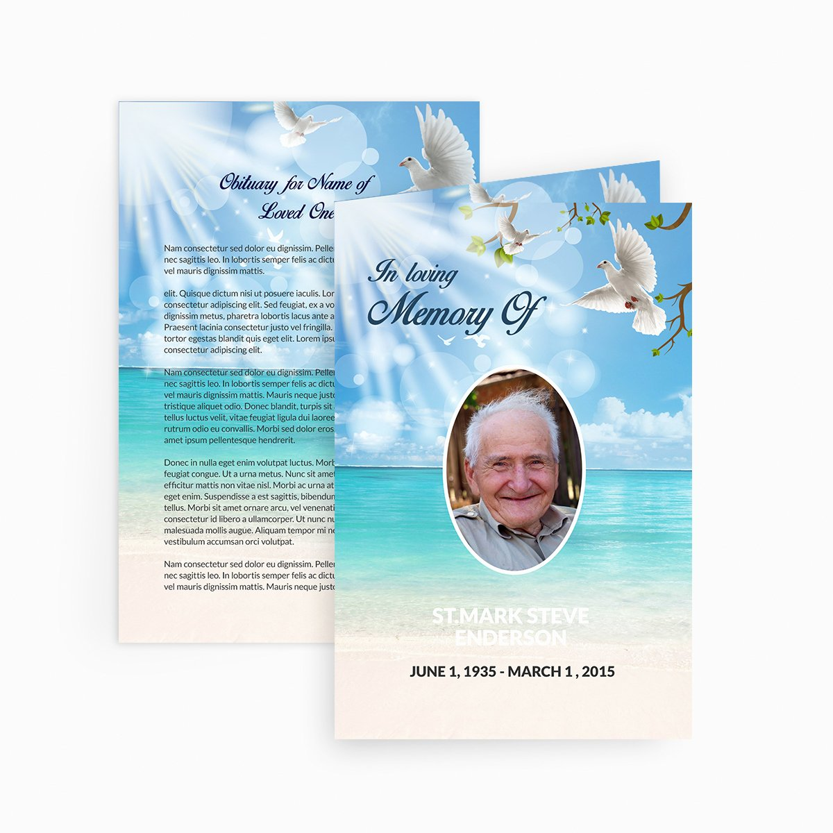 Free Funeral Card Template Beautiful Dove Funeral Card Funeral Pamphlets