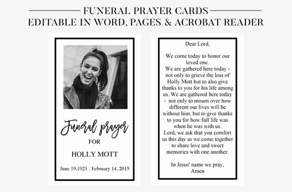 Free Funeral Card Template Inspirational Funeral Prayer Cards Printable Funeral Cards Memorial