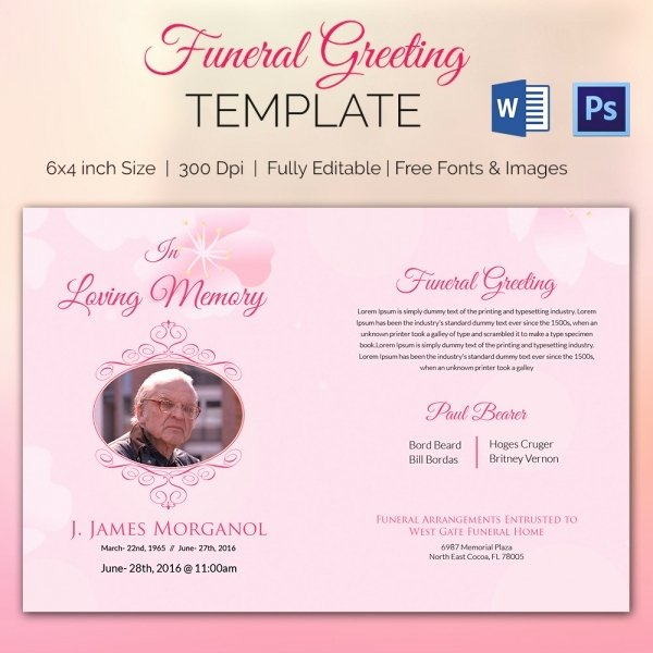Free Funeral Card Template Lovely 15 Funeral Card Templates Psd Ai Eps