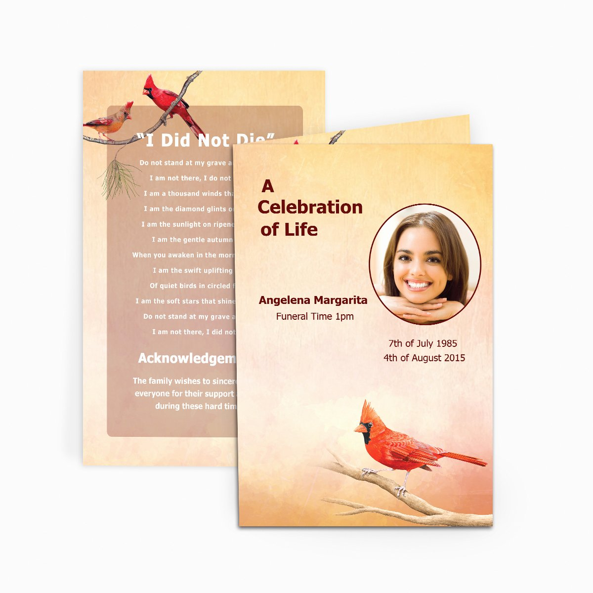 Free Funeral Card Template New Cardinal Funeral Card