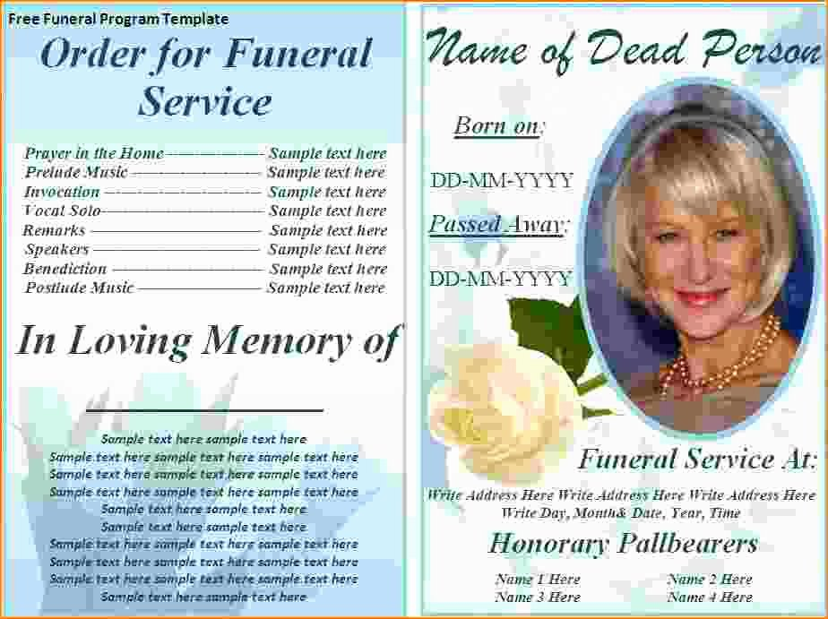 Free Funeral Card Template Unique 5 Free Funeral Program Template for Word