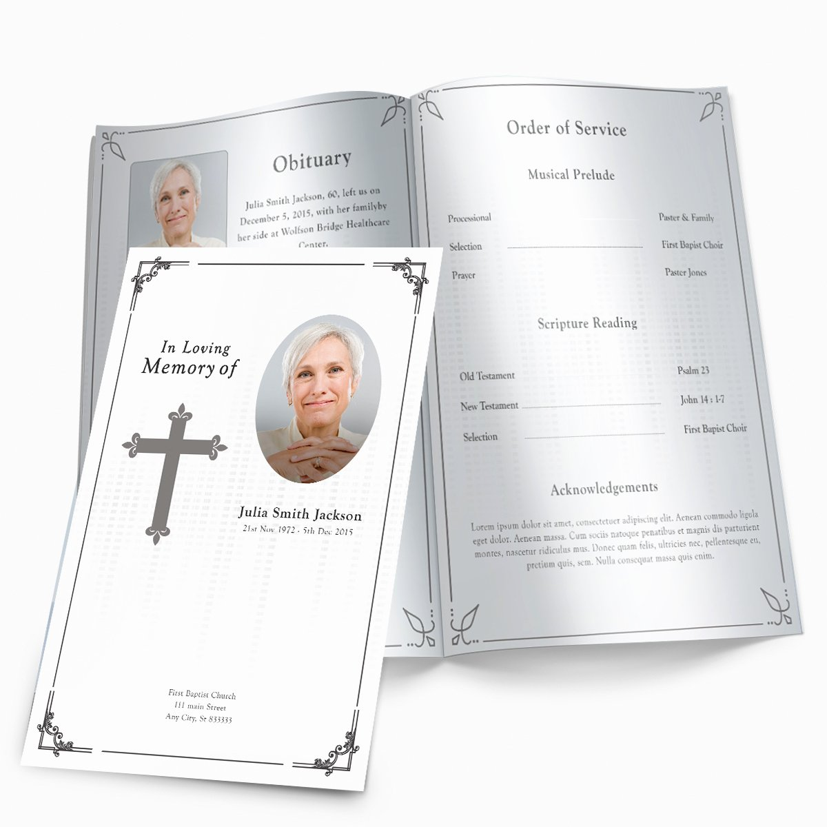 Free Funeral Program Templates Awesome Traditional Cross Funeral Pamphlets