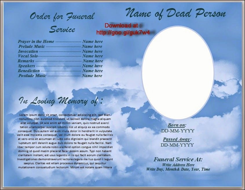 Free Funeral Program Templates Unique Download Free Funeral Program Template for Australia In