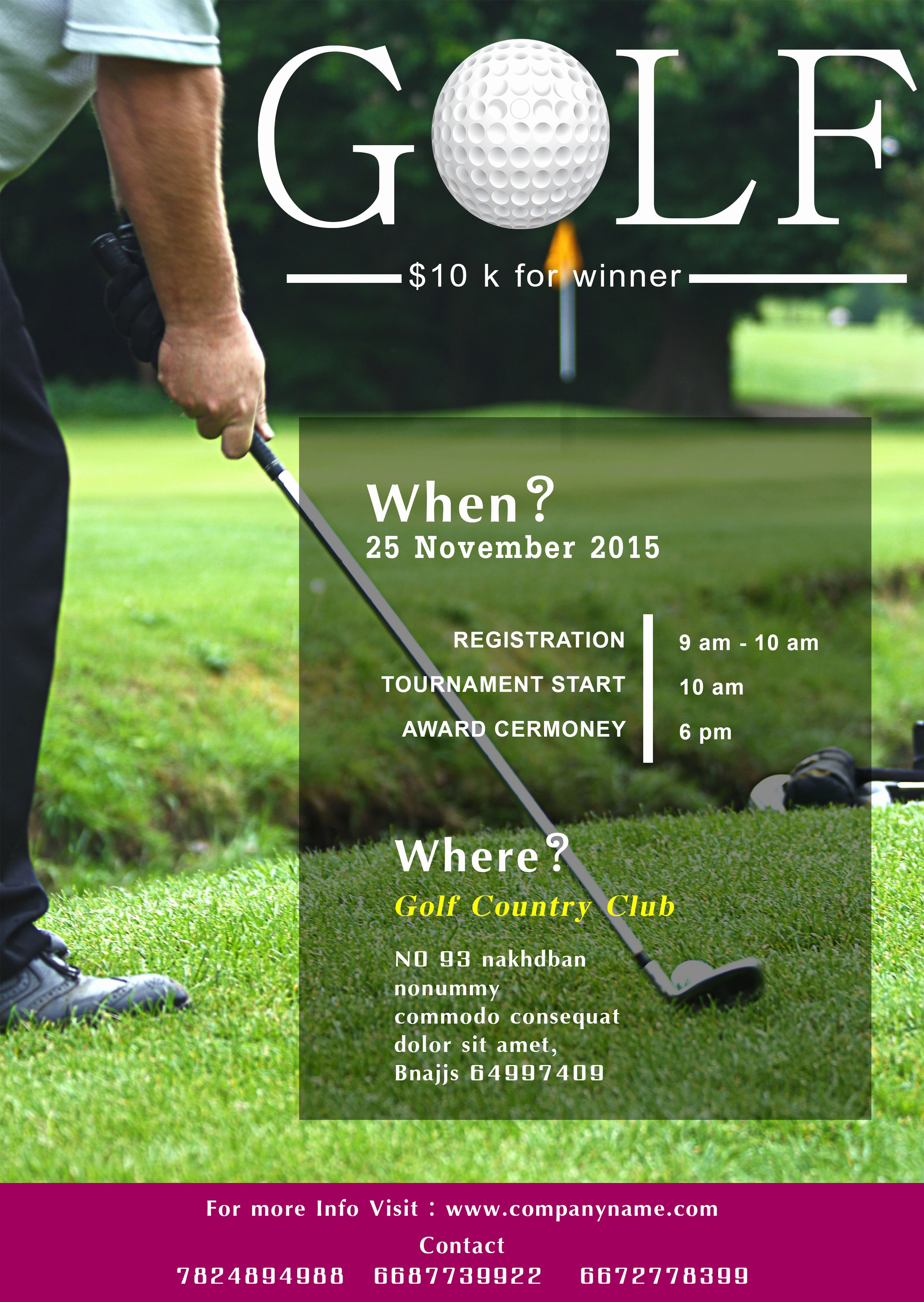 Free Golf tournament Flyer Template Awesome Free Golf tournament Flyer Template