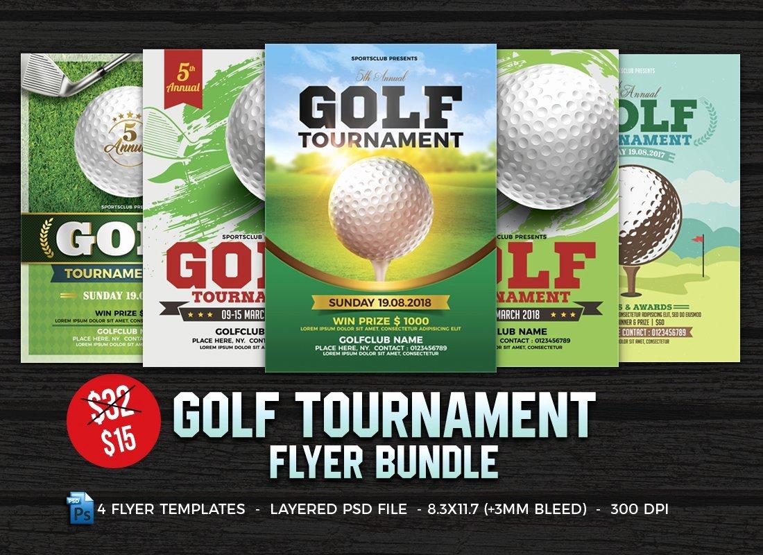 Free Golf tournament Flyer Template Elegant Golf tournament Flyer Bundle Flyer Templates Creative