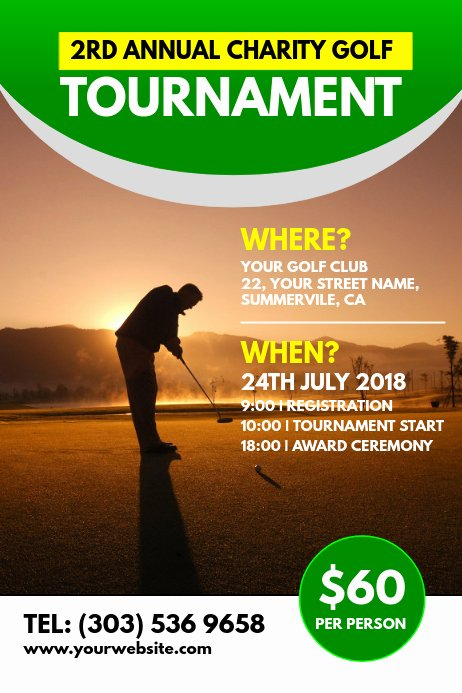 Free Golf tournament Flyer Template Lovely Charity Golf tournament Poster Template