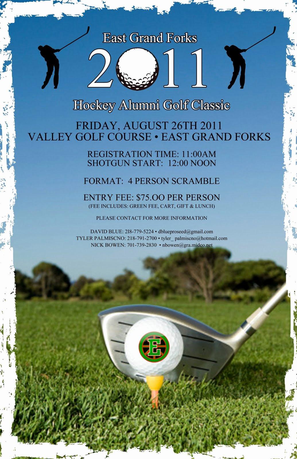 Free Golf tournament Flyers Templates Elegant East Grand forks Greenwave Hockey Golf tournament