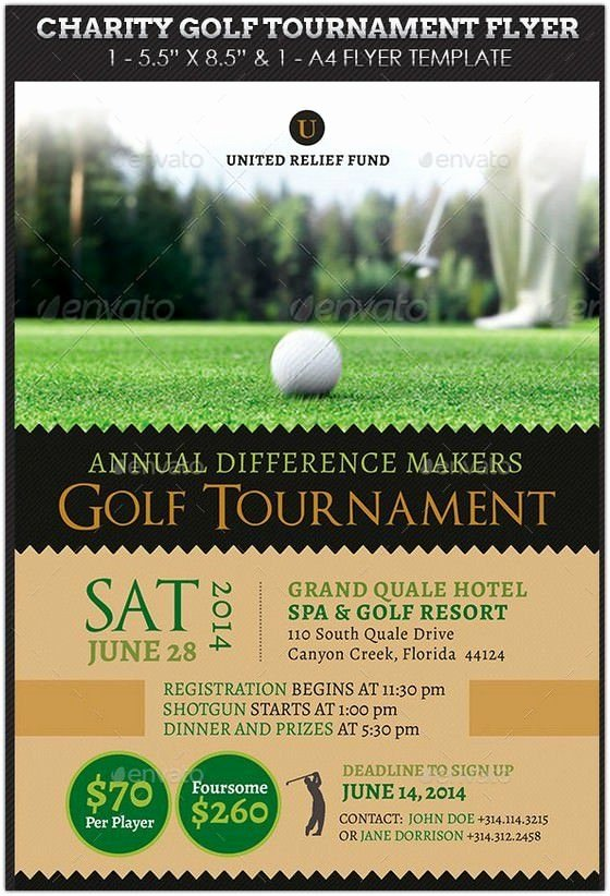 Free Golf tournament Flyers Templates Luxury Charity Golf tournament Flyer Hd 2