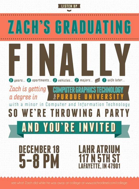 Free Graduation Announcement Template Beautiful Free Typography Style College Graduation Invitation