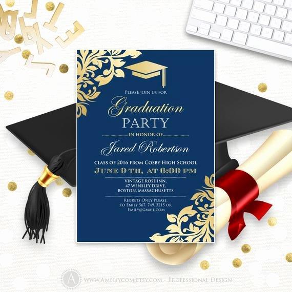 Free Graduation Announcement Template Fresh Graduation Announcement Printable Navy Gold College Graduation