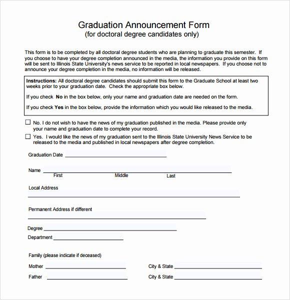 Free Graduation Announcement Template Fresh Sample Graduation Announcement Template 8 Free