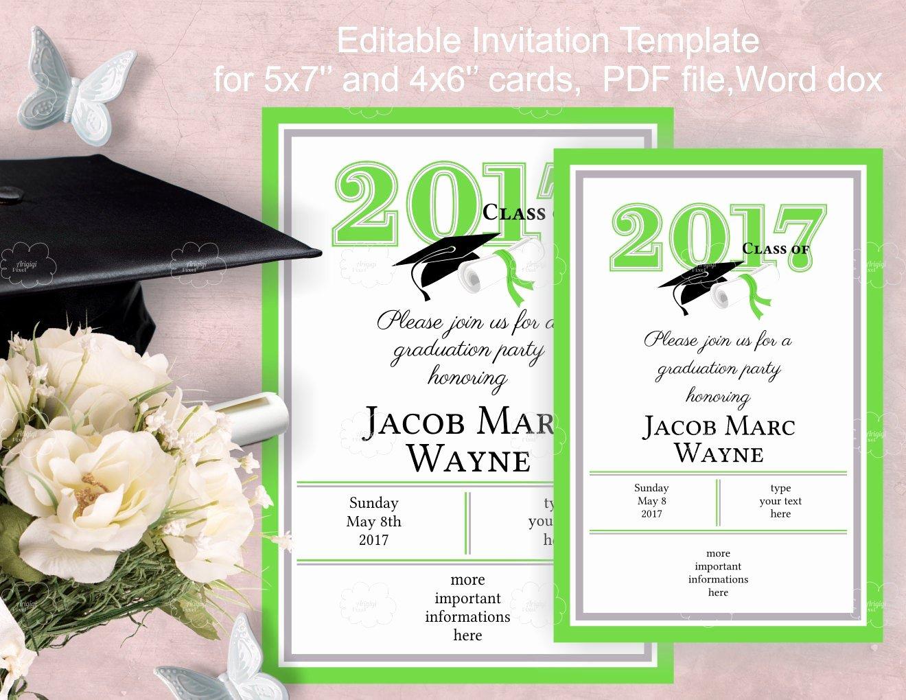 Free Graduation Announcement Template New Graduation Party Invitation Template Edit Yourself