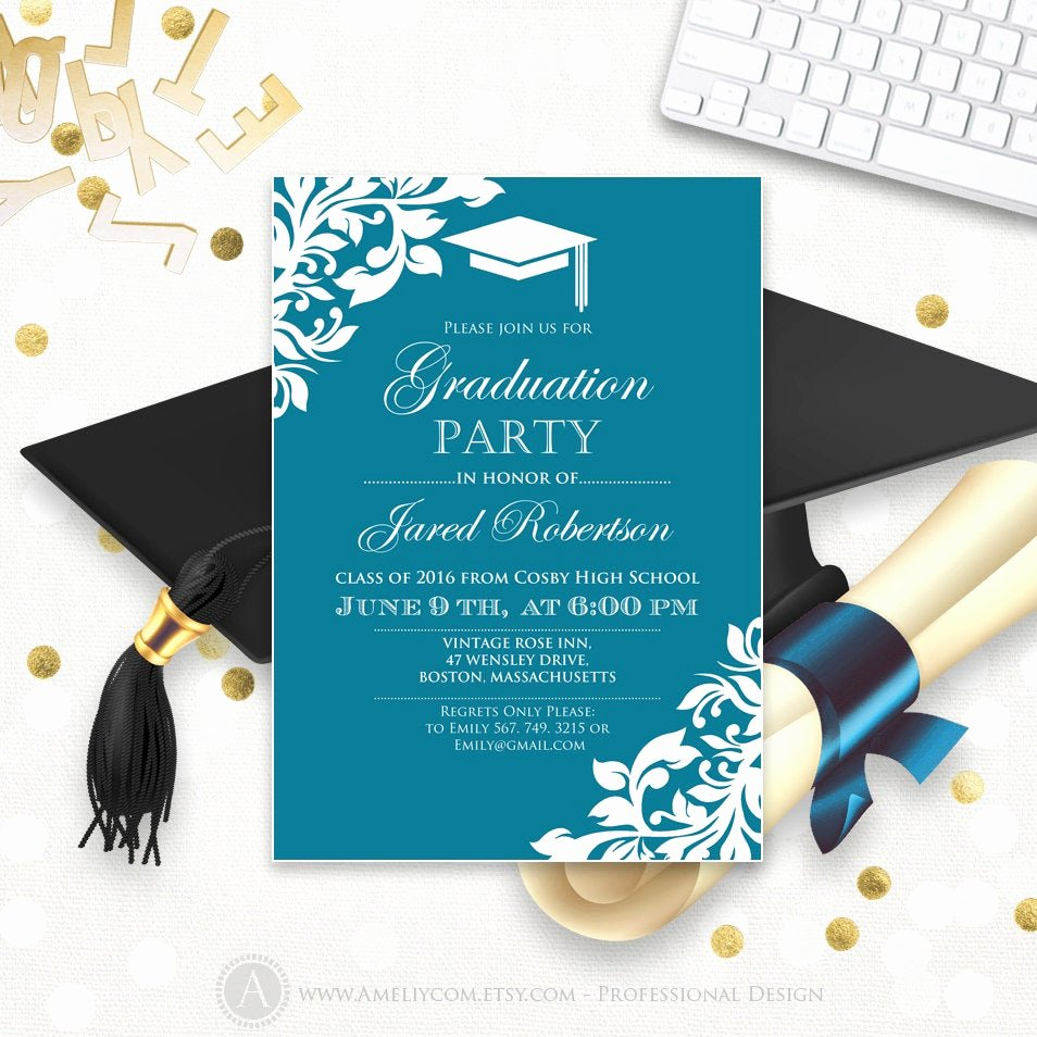 Free Graduation Announcements Templates Elegant Printable Graduation Party Invitation Template Blue Teal High