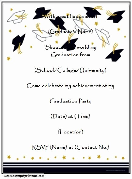 Free Graduation Announcements Templates Inspirational Graduation Party Invitation Templates Free Printable