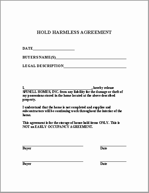 Free Hold Harmless Agreement Template Awesome 43 Free Hold Harmless Agreement Templates Ms Word and Pdfs