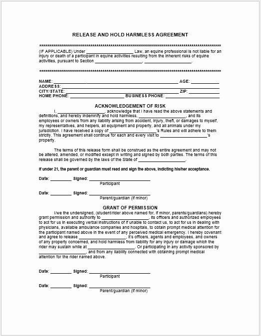 Free Hold Harmless Agreement Template Best Of 43 Free Hold Harmless Agreement Templates Ms Word and Pdfs