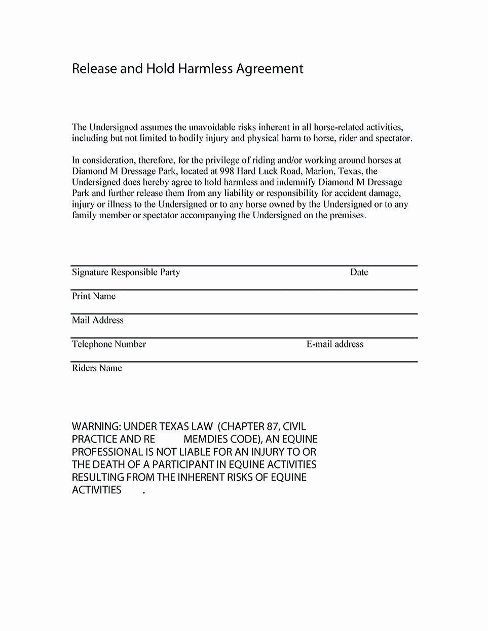 Free Hold Harmless Agreement Template Elegant Making Hold Harmless Agreement Template for Different Purposes