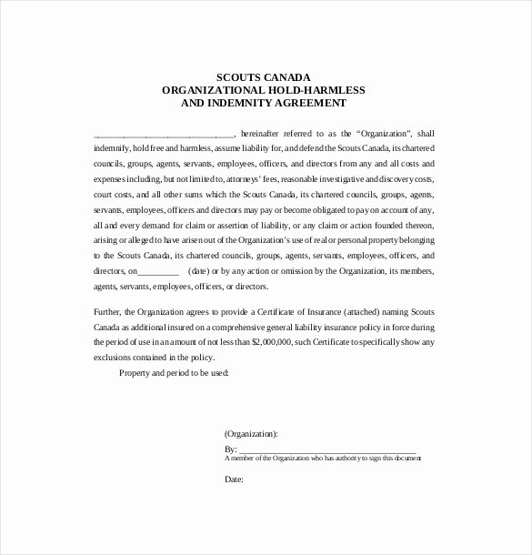 Free Hold Harmless Agreement Template Inspirational 11 Hold Harmless Agreement Templates– Free Sample
