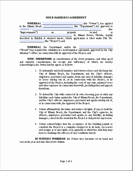 Free Hold Harmless Agreement Template Inspirational 43 Free Hold Harmless Agreement Templates Ms Word and Pdfs