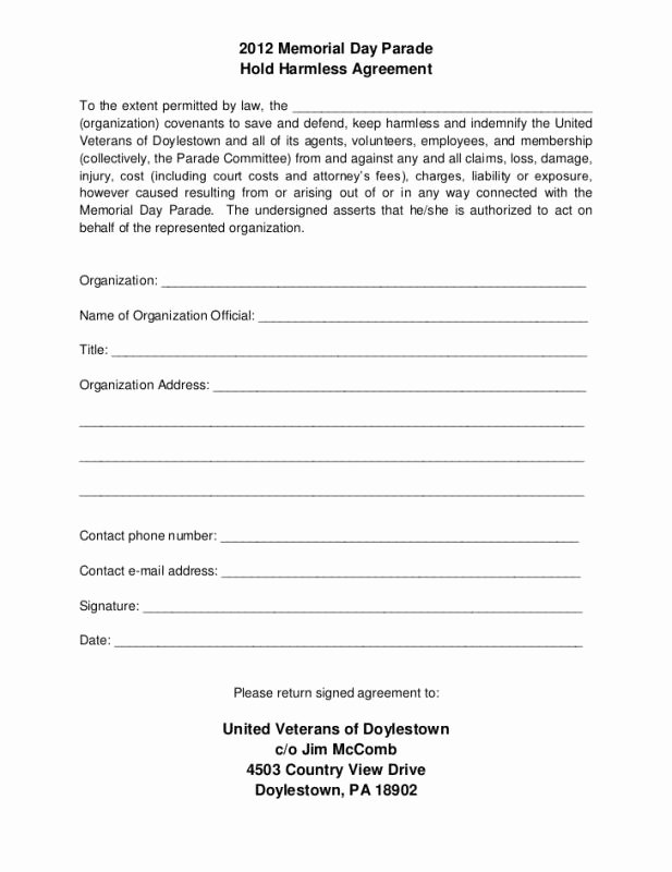 Free Hold Harmless Agreement Template Inspirational Hold Harmless Agreement Template