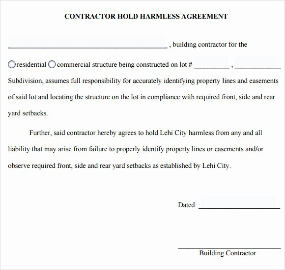 Free Hold Harmless Agreement Template Lovely Sample Hold Harmless Agreement 10 Documents In Pdf Word