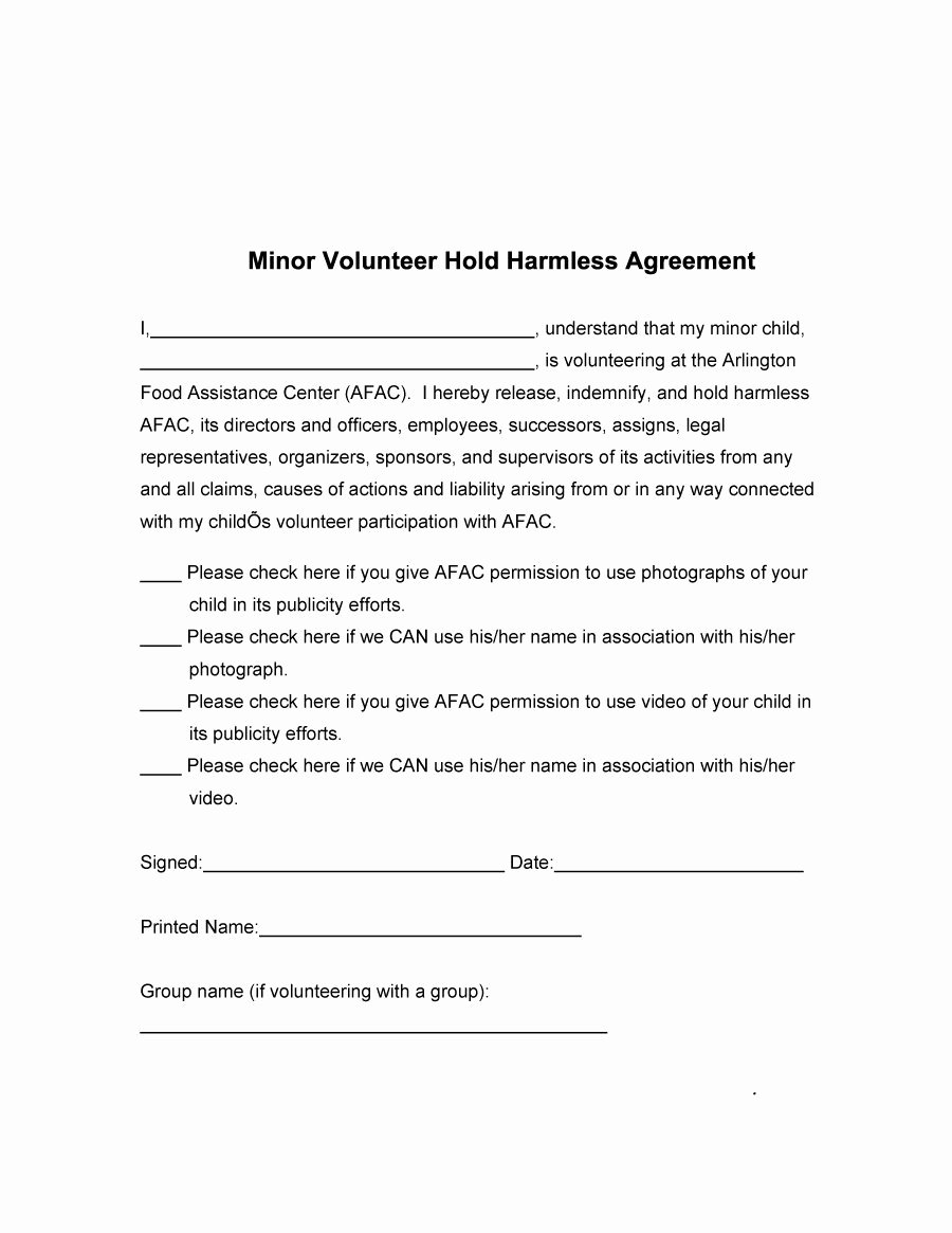 Free Hold Harmless Agreement Template New 40 Hold Harmless Agreement Templates Free Template Lab