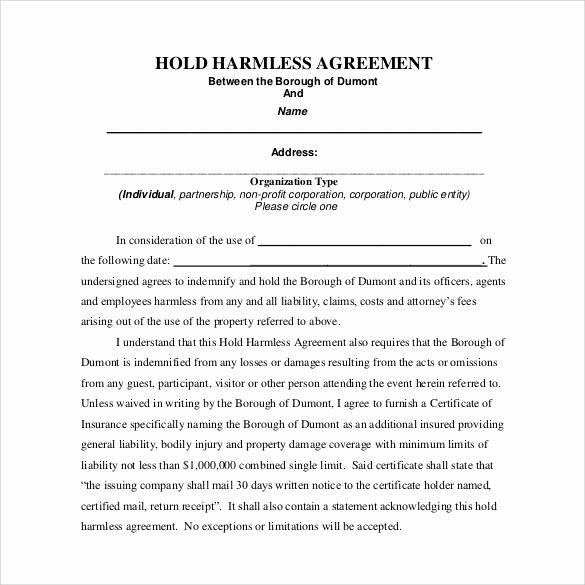 Free Hold Harmless Agreement Template New Free 32 Sample Hold Harmless Agreement Templates In