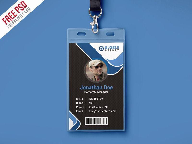 Free Id Card Template Best Of Multipurpose Dark Fice Id Card Free Psd Template