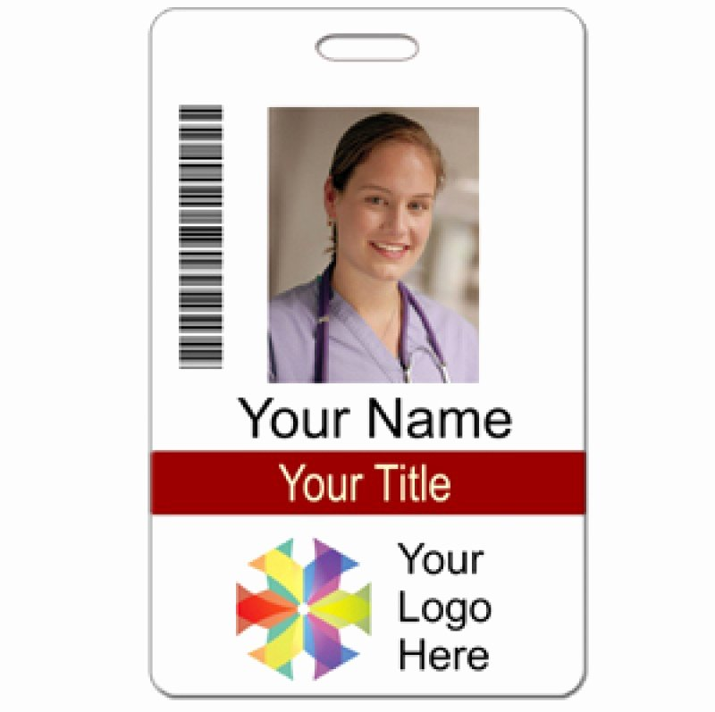 Free Id Card Template Inspirational Id Custom 2 Lines Text Bar Code & Logo Name Tag