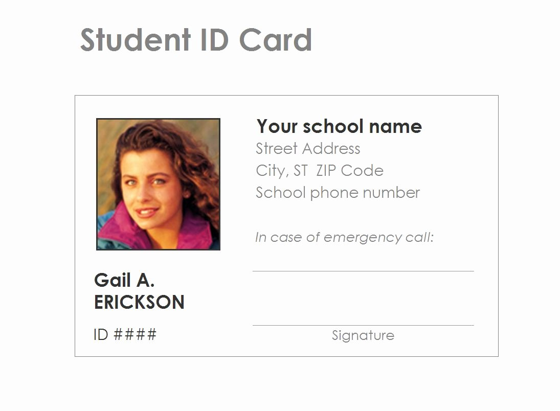 Free Id Card Template New Student Identification Card Template