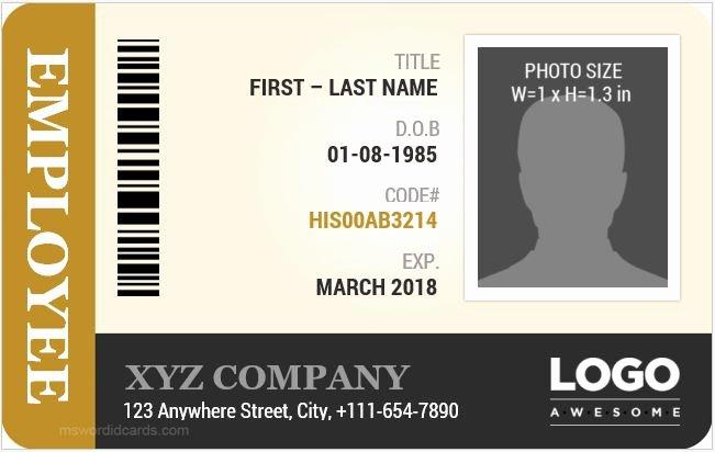Free Id Card Template Word Elegant Employee Id Card Templates