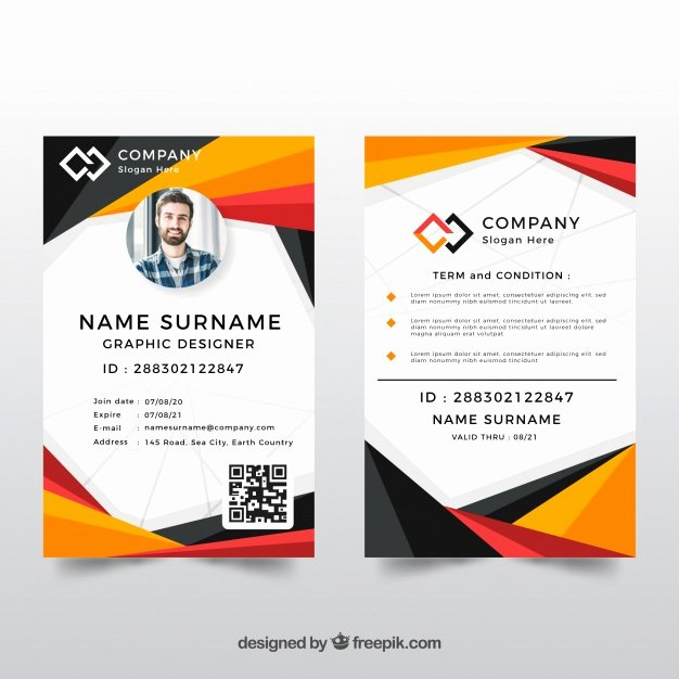 Free Id Card Templates Lovely Id Card Template with Abstract Style Vector
