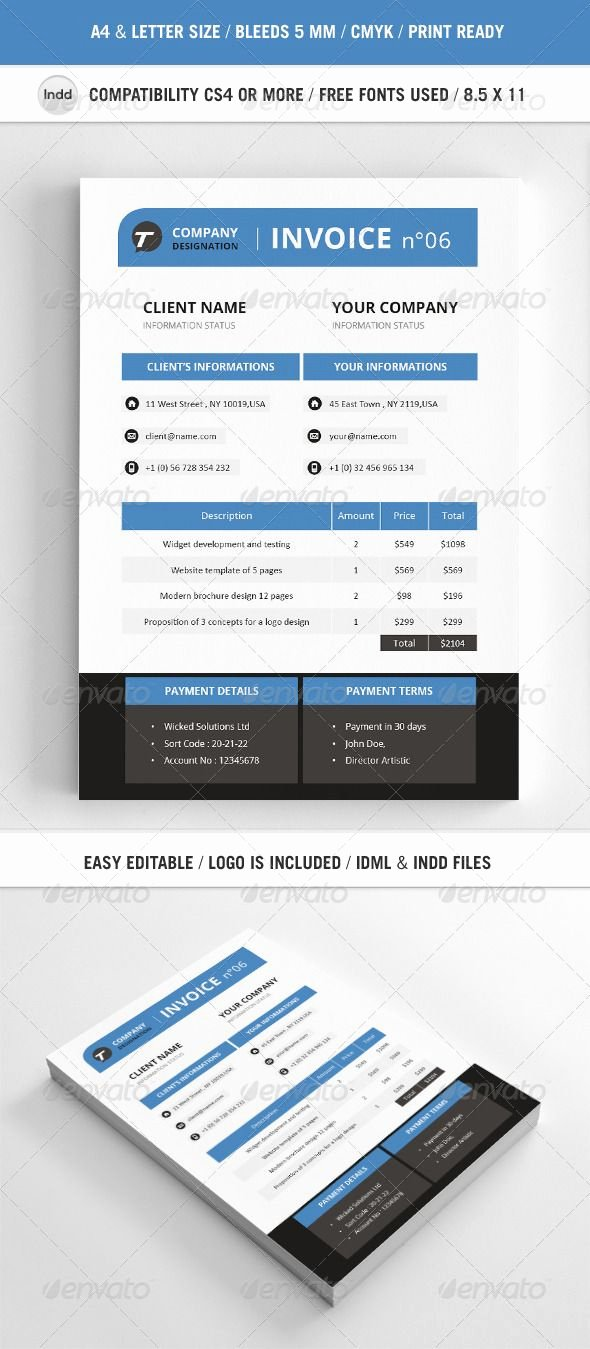Free Indesign Invoice Template Awesome Professional Invoice Template A4 — Indesign Indd Print